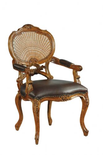 Elegant Rattan Chair with Leather Seat